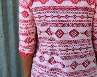 Coral and White Textured Aztec Navajo Ethnic Southwest 3/4 Sleeve Cardigan Jacket  for Teen's and Women from GreenStyle