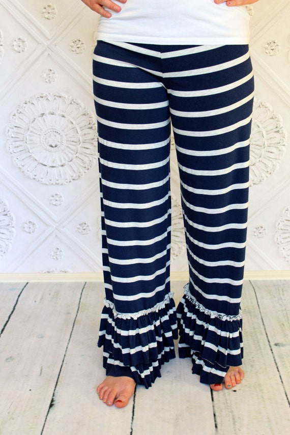 Nautical Navy Blue and Heather Ash Striped Willow Ruffle Pants by GreenStyle in Teen and Women's Sizes