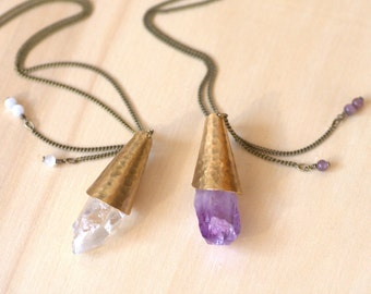 Amethyst long necklace. Amethyst purple Crystal necklace. Pendant necklace. Raw stone necklace.