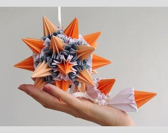 "Christmas decor - Hanging paper mobile ""Sun rays"" , orange grey paper ball,  art sculpture, home decoration, Christmas gift ideas"