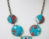 Red Teal Necklace Red Teal Statement Necklace Statement Jewelry Colorful Necklace Fabric Flower Drop Necklace Teal Red Wedding Bridesmaids