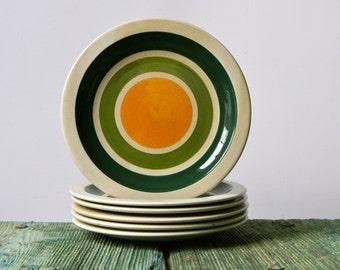 Retro yellow/green ceramic plates