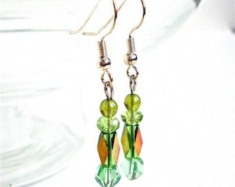 Green bead earrings - small green earrings - little bead jewelry - glass bead earrings - spring accessories - summer jewelry