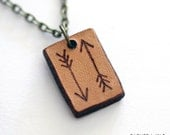 Tribal Arrows Pendant, real leather jewellery, Boho pendant, Nature necklace, Pyrography pendant, Bow and arrows, huntress necklace
