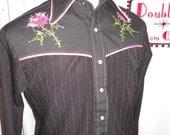 Men's pink rose western shirt - Size Medium