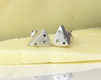 Small handmade sterling silver earrings for women. cheese shape earrings. Funny jewelry with food texture. Original jewelry contemporary.