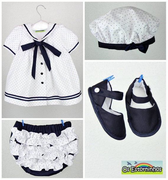 Baby Girl Outfit Baby Girl Sailor dress with navy blue polka
