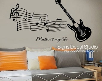 MUSIC WALL DECAL - Guitar Wall Decal - Music Is My Life Decal, Guitar Music  Decal, Rock Decal, Teen Kids Boy Girl Vinyl Wall Decal