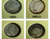 Uncirculated Vintage Roosevelt Dimes, Choice of Antique Dimes, 1955, 1958, or 1959, Roosevelt Coins, United States Coin