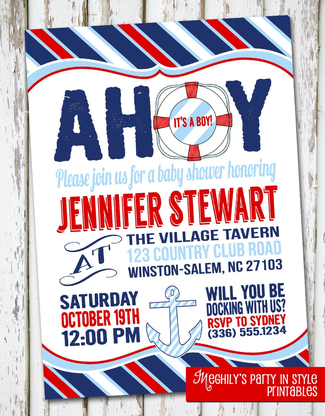 sailor nautical baby shower invitation by meghilys on etsy