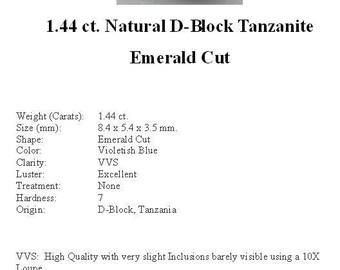 TANZANITE - Sweet Little 1.44 ct. Violet Blue D-Block Tanzanite in a Gorgeous Emerald Cut...