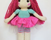 Handmade Ballerina Doll Toy with Pink Hair - Hand Crocheted One of a Kind Amigurumi Soft Doll for Girls