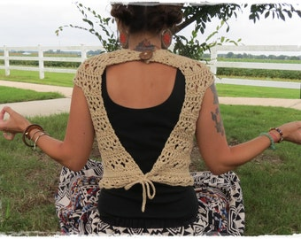 Open Work Crochet Top-Festival Top-Crop Top-Droop Neck-Soft & Light-Hippy-Bohemian