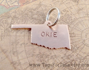 Oklahoma State Pet Tag - choose your state -  Handmade Artisan Custom ID Charm  Unique Engraved Stamped