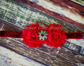 Christmas Headband, Red Baby Headband, Infant Headband, Newborn Headband, Toddler Headband - Headband Red Shabby Chic Headband