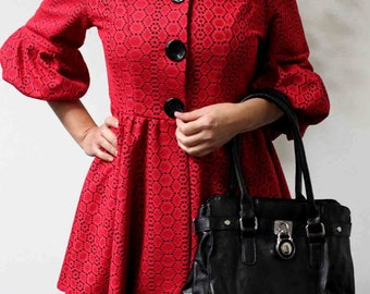 Dashing and High-End Lagenlook  Plus size Red Jacket Coat  M, L,1XL,2XL, 3XL