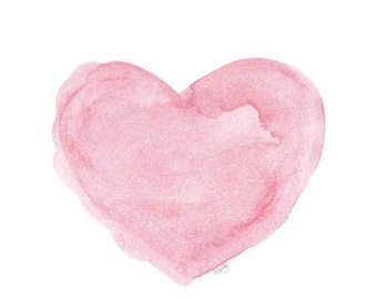 Watercolor Print, Pink Heart Art, Nursery Print, Pink Watercolor, Love, Baby Nursery Art, Watercolor Heart, Nursery Watercolor, Pink Art