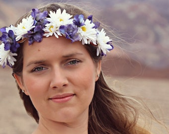 SALE! Field of Daisies - spring daisy floral crown, floral wreath, violets, hippie flower crown, boho style, Coachella, wedding