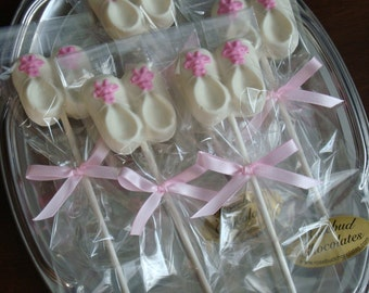 High Quality 12 Vanilla White Chocolate Booties Shoes Pink Laces Baby Shower Candy  Lollipops Girl Party Treats
