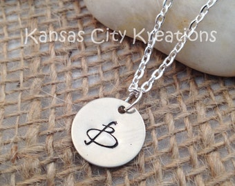 Monogram Initial Hand Stamped Nickel Silver Necklace