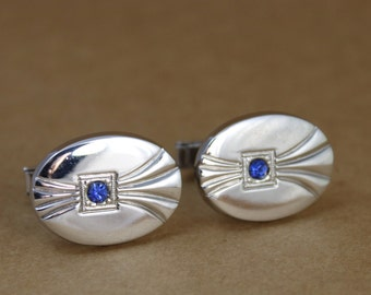 1940's Silver Cufflinks with Blue Rhinestone Accent