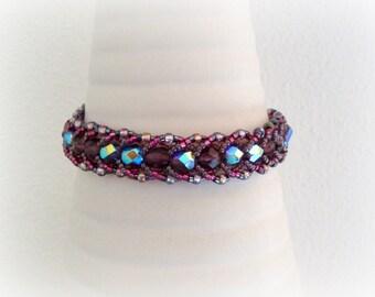 Purple Beaded Bracelet - Purple and Grey Bracelet with Czech Crystal and Japanese Seed Beads - Women Beadwork Bracelet