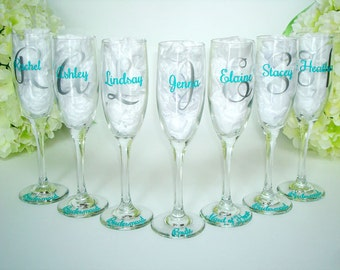 7 Personalized Champagne Flutes - Bridesmaid Champagne Flute - Monogrammed Bridesmaid Champagne Glasses - Personalized Champagne Flute