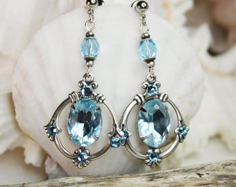 Victorian inspired dangling earrings in aqua and silver plated brass