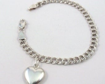 Children's Sterling Silver Puffed Heart Charm on a Sterling Silver Traditional Charm Bracelet  - 1540