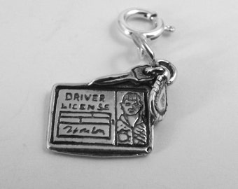 Sterling Silver Boy Driver License Charm - Fits Both European and Traditional Charm Bracelets - 0431