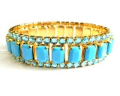 Turquoise Bracelet Sky Blue Vintage Rhinestone Collectible Jewelry 1950s Expansion Bracelet Turquoise Glass Mirrored Rhinestone
