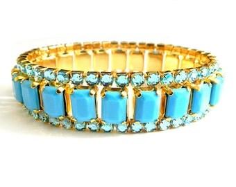 Turquoise Bracelet Sky Blue Vintage Rhinestone Collectible Jewelry 1950s Expansion Bracelet Turquoise Glass Mirrored Rhinestone