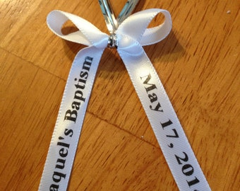 Personalized Ribbon Already Bowed ,  For Party Favors Quantity 25, Baby Shower favors, Wedding favors, Baptism favors, Communion,Fundraiser