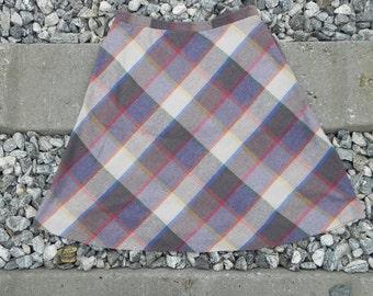 Vintage Wool Blend Plaid Skirt
