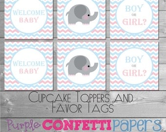 Pink & Blue Chevron Printable Cupcake Toppers, Favor Tags, Stickers INSTANT DOWNLOAD DIY