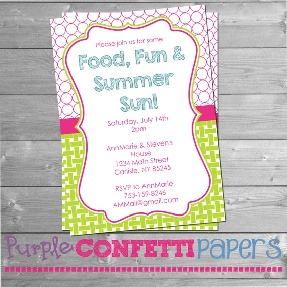 Finest Printable Summer Party Invitation - Summer BBQ, Pool Party, Summer  YB81