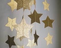 Gold Glitter Star Garland, Glitter Wedding decoration, Gold star party garland, sparkling stars garland, Holiday garland, Party decor