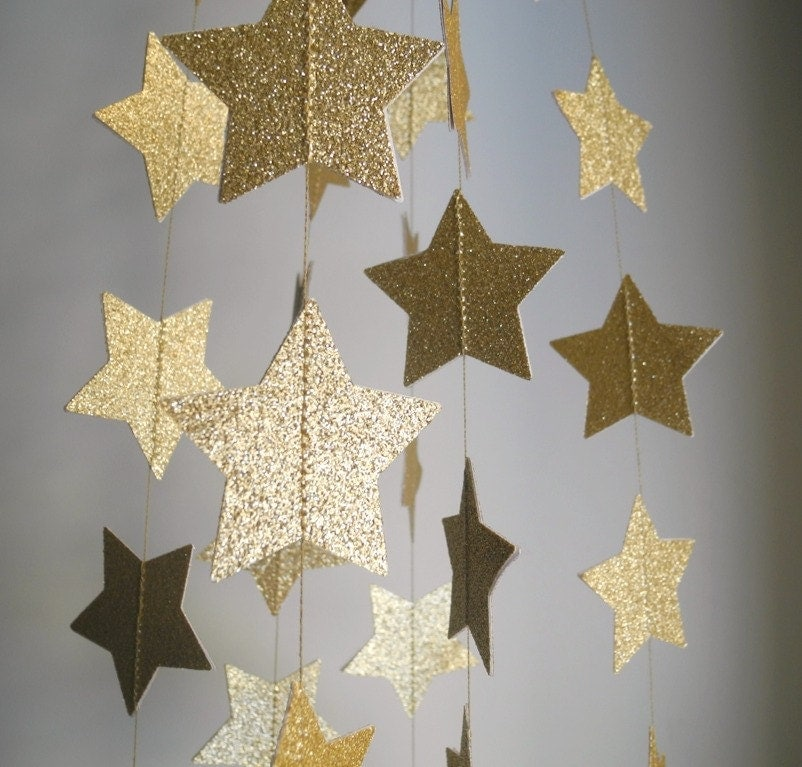 gold glitter star garland glitter wedding decoration gold