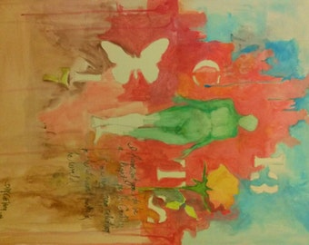 Original Nude Abstract Expressionist Painting with Bible Text, Butterfly & Rose