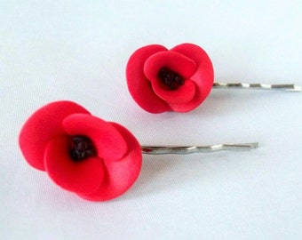 Poppy Hair, Flower Bobby Pins, Made To Order, Red Poppy, Hair Grips, Poppy Accessory