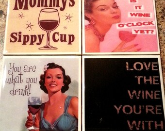 Wine Themed Coaster Set Funny Quotes Coasters Kitschy Altered Art