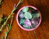 Medium Fluorite Tumbled Gemstone Healing Crystal Rainbow Fluorite Aura Cleansing Meditation Reiki Wire Wrap Jewelry Supply Pocket Stone