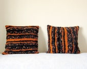 Decorative pillow covers 18 x 18 set of 2, made from black and orange wool. Upcycled recycled repurposed, eco-friendly. One of a kind.
