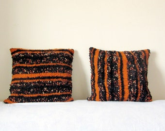 Decorative pillow covers 18 x 18 set of 2, black and orange wool. Hygge, Upcycled recycled repurposed, eco-friendly living. OOAK for home