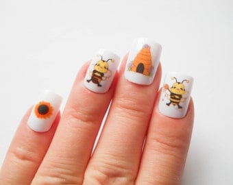 Bumble Bee Fake Nails, Beehive, Cute, Acrylic Nails, False Nails, Press on, Nails, Bees