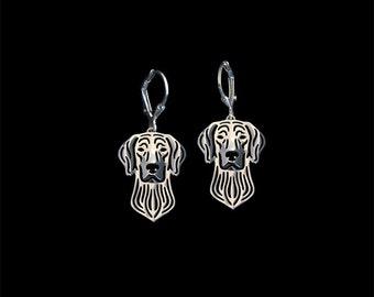 Weimaraner earrings- sterling silver