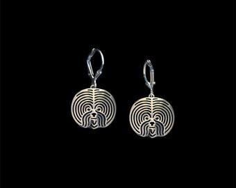Bichon Frise earrings - sterling silver.