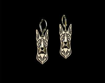 Great dane earrings - gold.