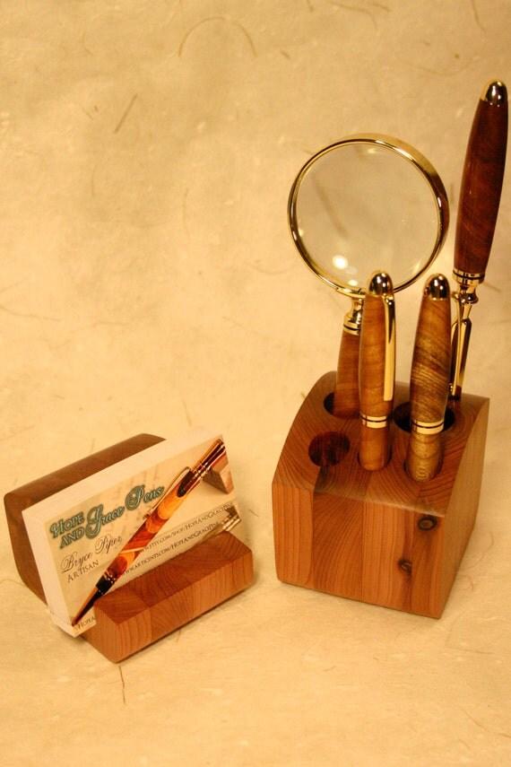 Wood desk organizer set handcrafted wood 2 by hopeandgracepens - Desk organizer sets ...
