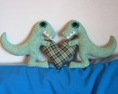 Green Dinosaurs Holding a Plaid Heart Plush Pillow - Hand Stitched. Cute Little Plushie.